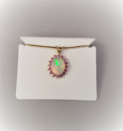 Jelly Opal with Pink Diamond Halo