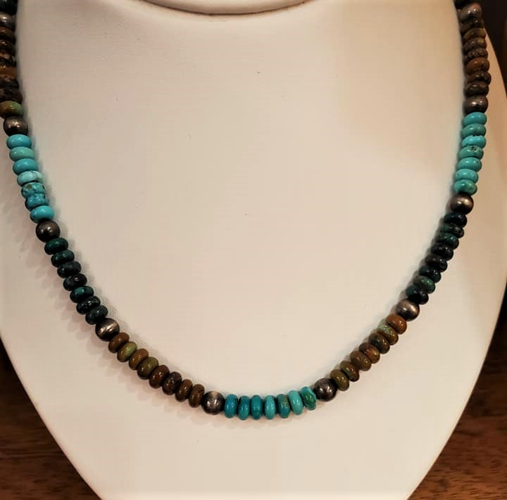 "18"" Turquoise Sterling Silver Necklace"