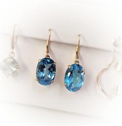 Swiss Blue Topaz Dangle Earrings