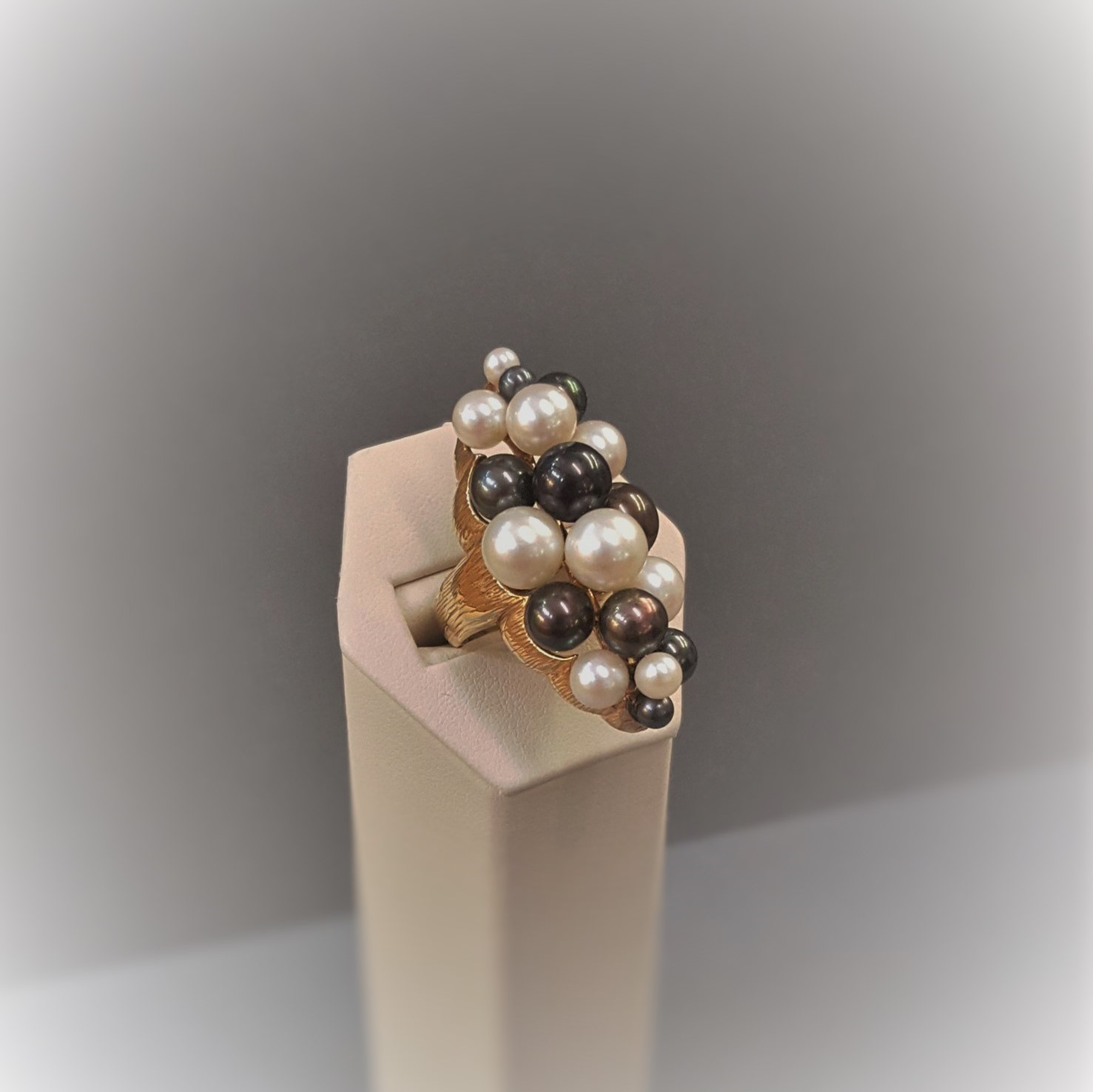 Multi-Color Pearl Cluster Ring