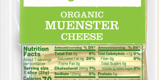 Applegate Organics Muenster Sliced cheese