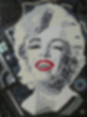 Mosaic of Marilyn Monroe in black and white. Red lips