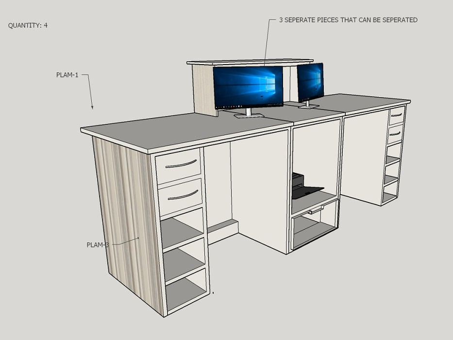 Custom Desk 3D Drawing