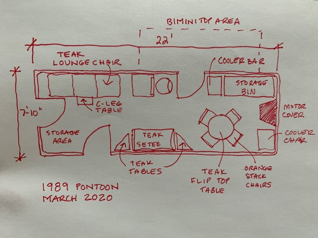 Layout for remodel of 1980s pontoon boat