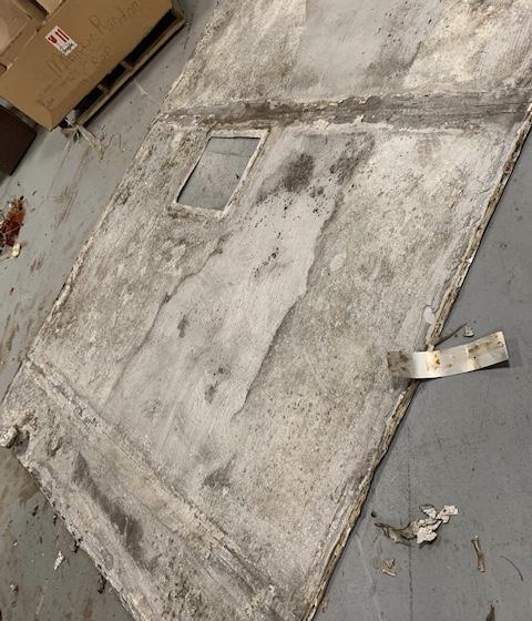 Old aluminum camper roof