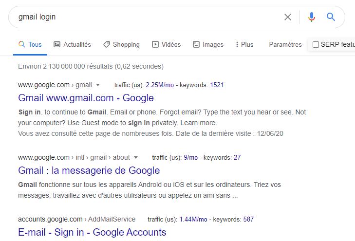 Exemple de résultats de navigation sur Google
