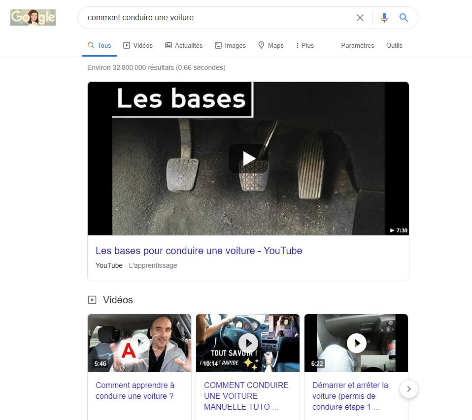 Exemple de résultats informels sur Google