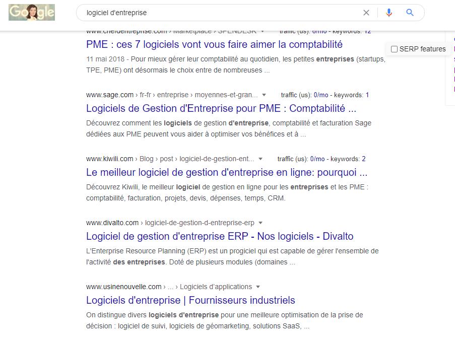 Exemple de résultats d'intention de recherche sur Google