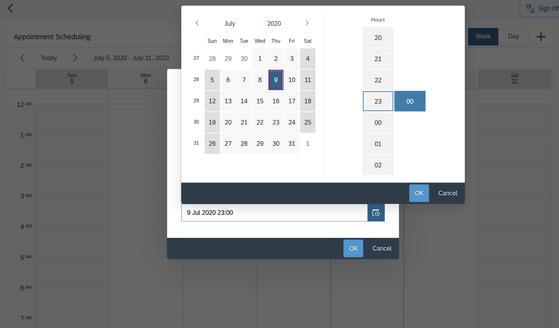 Agregar fecha y horarios
