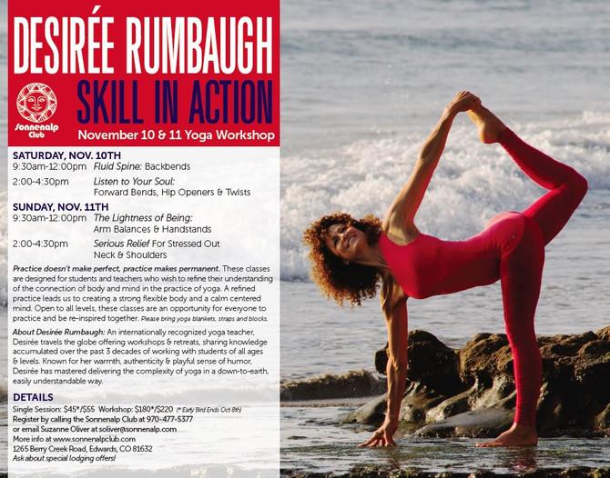 Sonnenalp Club will Host Desiree Rumbaugh in November!