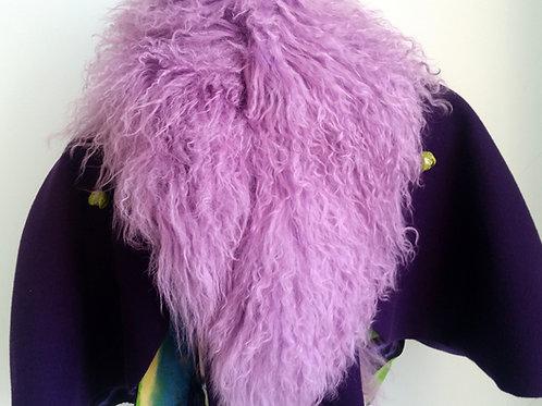 100% Mongolian Lamb fur collar Purple
