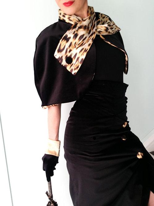 The 'Ava' Black Velvet and Leopard print Cape
