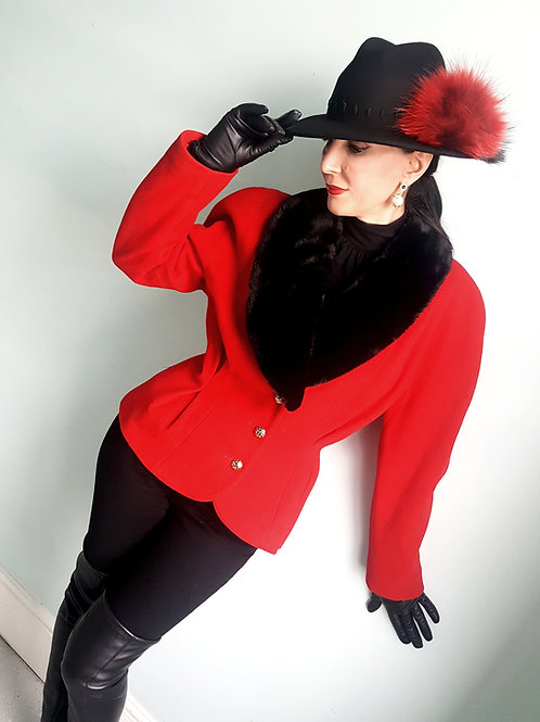 Vintage Mansfield Red Cashmere & wool jacket quality faux fur collar