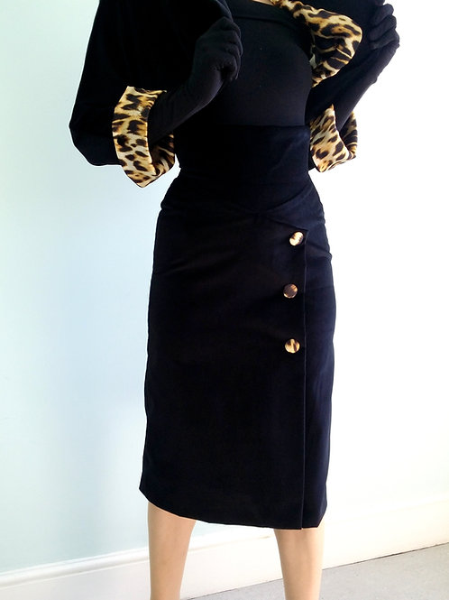 'Ava' Black Velvet High Waist Pencil skirt with leopard print fabric buttons