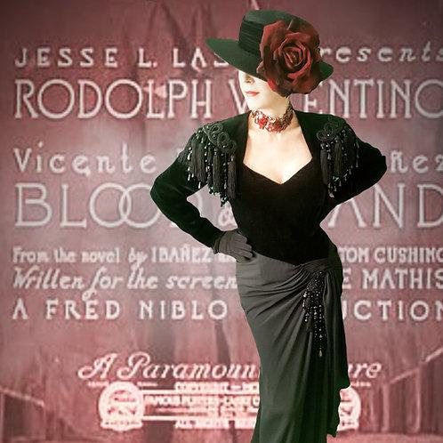 Vintage 1980s Isabelle Allard haute gothic couture gown flamenco tango Spanish