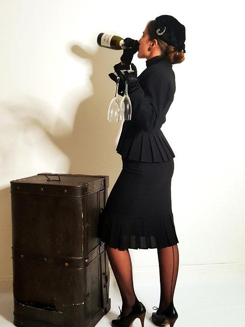 Vintage Mansfield equestrian inspired black skirt suit