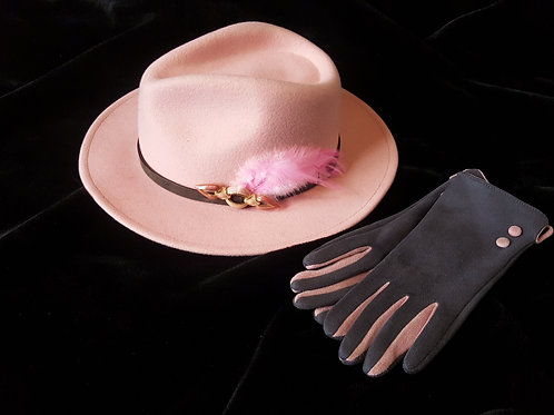 Hat and Gloves set: Pink trilby