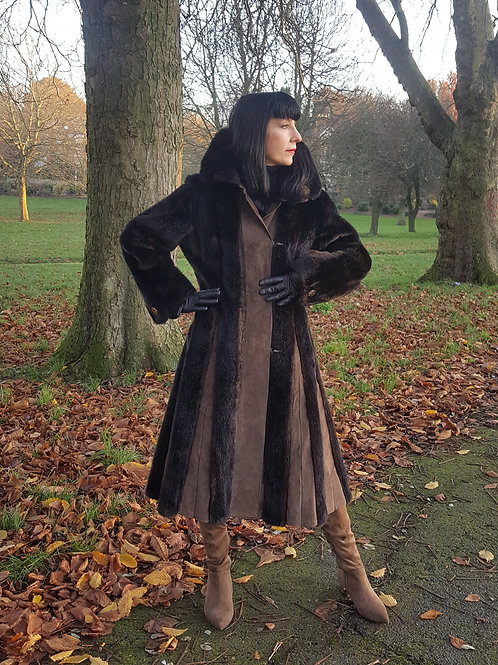 1970s vintage faux fur and real leather/suede fit and flare coat