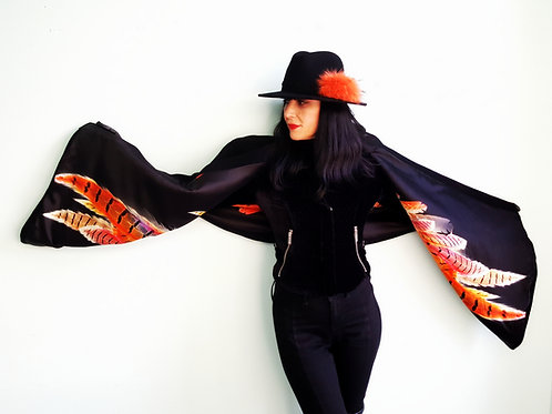 Feathered wing 'Evil angel' lined Montpelier wrap in black cashmere & wool
