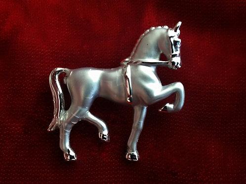 Silver and Rhodium equestrian brooch