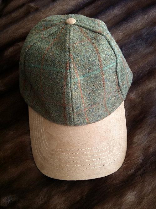Genuine Tweed and suede peak baseball cap