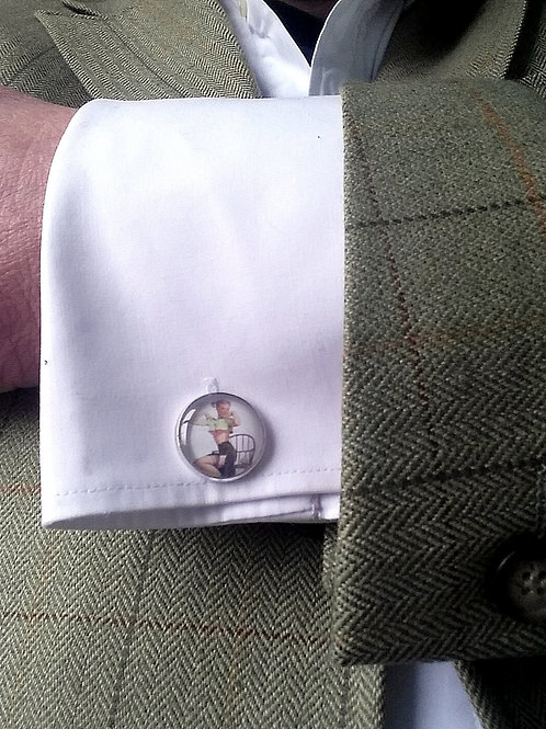 Vintage style Pin Up girl cufflinks