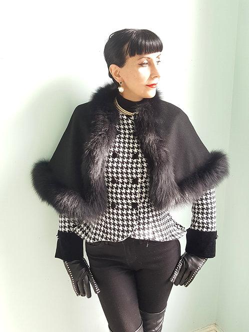 Vintage black cashmere wool & fox fur cape