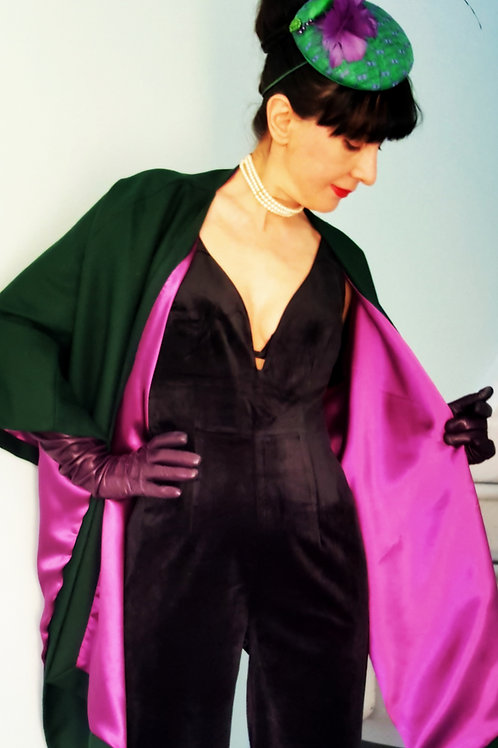 Green wool and cashmere Montpelier Wrap lined with purple satin