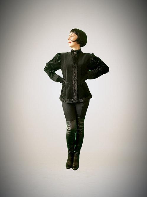 VIntage 1980 Kenzo Cossack jacket mutton sleeve black velvet faux astrakhan