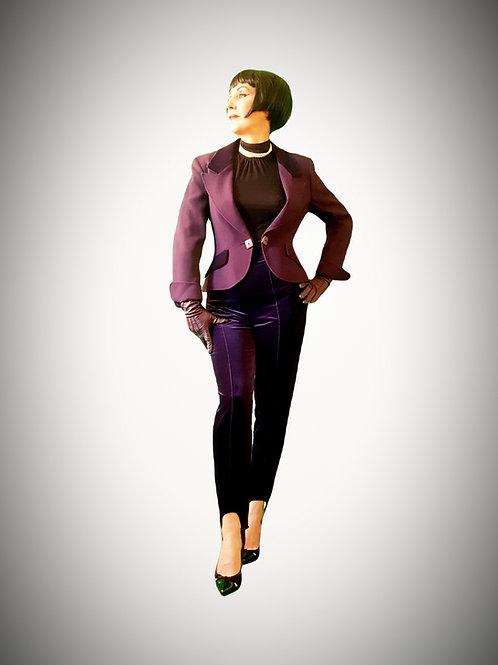 Gorgeous plum shade of purple vintage semi fitted Jaeger Tuxedo velvet & wool