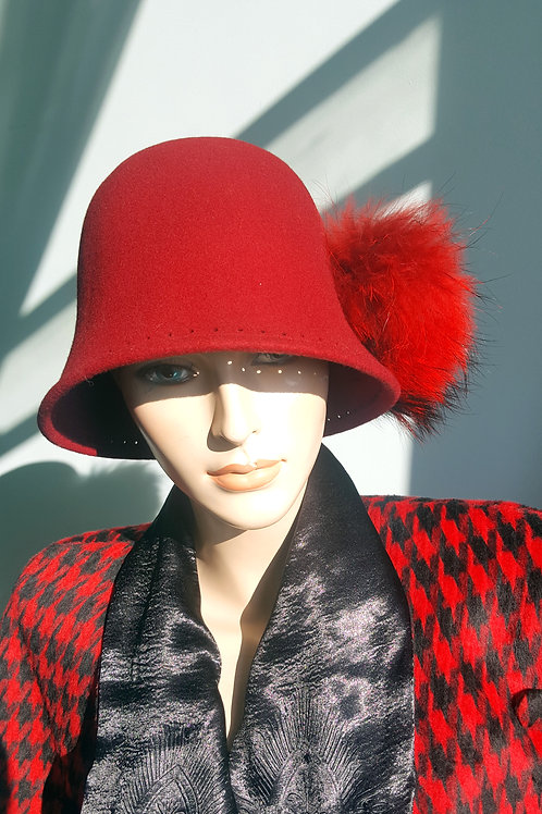 1920's style wool felt bucket hat with huge fur pom