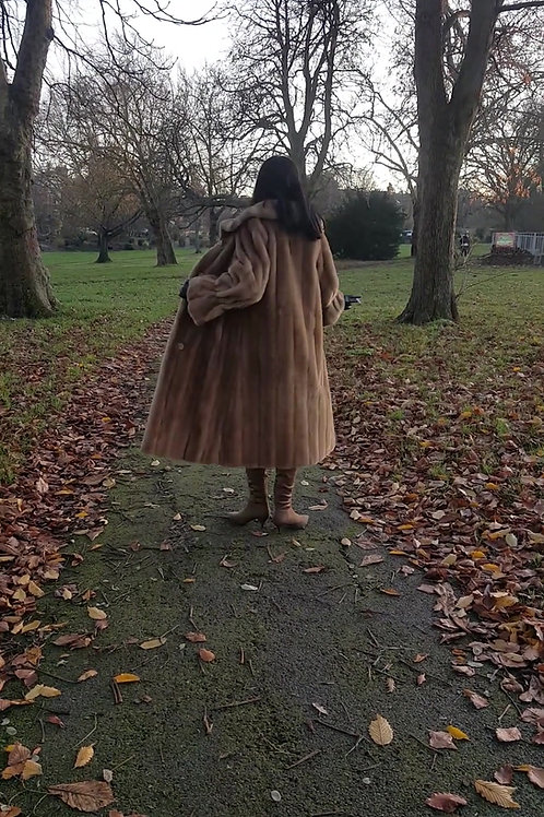 Late 1960s beige fit and flare faux fur coat beautiful quality and style