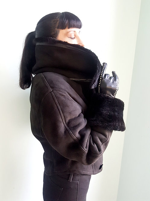 Martine Sitbon sheepskin aviator jacket original 1980s French Couture