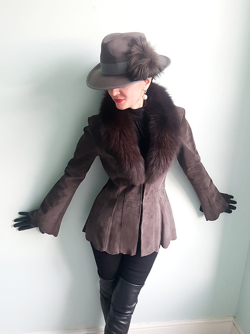 Vintage grey real leather suede flare sleeve scalloped jacket fox fur collar