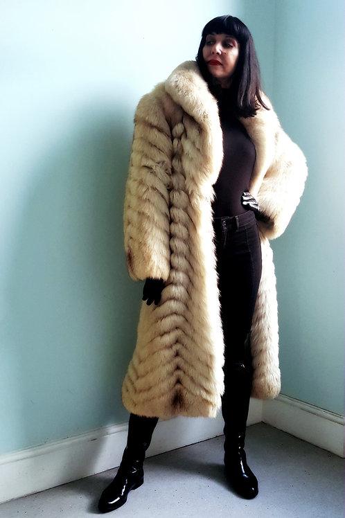 Stunning Vintage Blush Fox Fur Feather chevron design coat