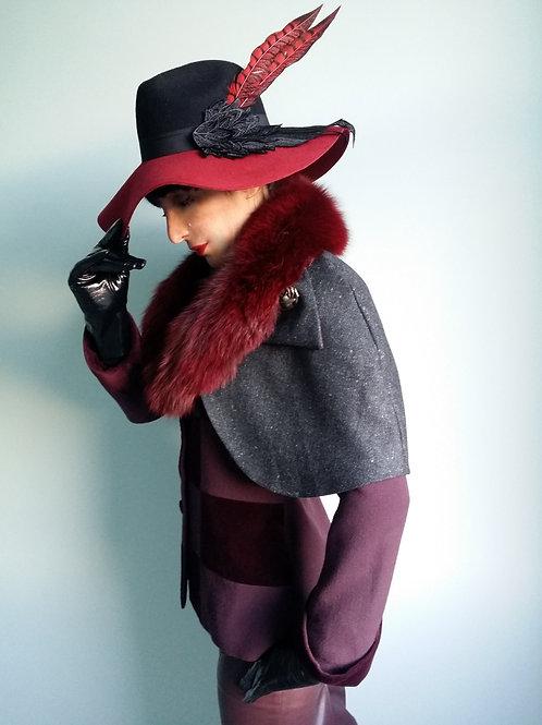 Burgundy Fur Collar