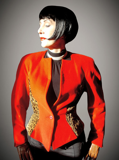 The Iconic Mondi fitted 'sculpture' jacket in RED with leopard print side panels