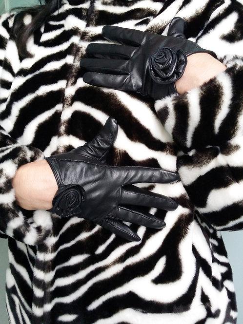 Black leather cut away rose gloves