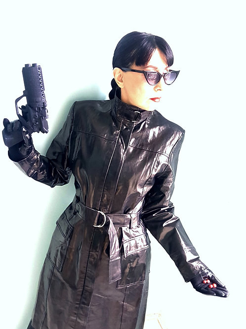Vintage high neck strap Patent Leather Coat: Matrix, Cosplay