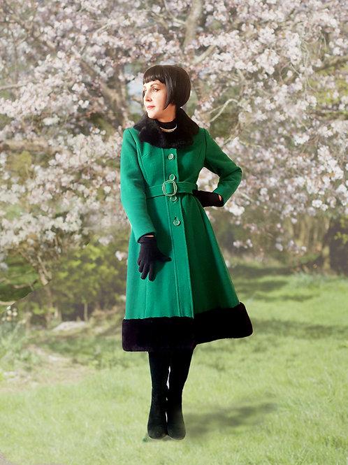 Late 1960s early 1970s emerald green & black Wool & Mouton fur trim coat