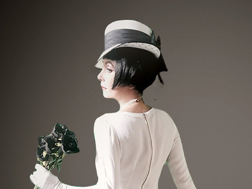 Black and white vintage Kangol hat with satin bow & band, and veil
