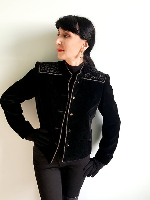 Vintage 1980s black velvet jacket by Mansfield