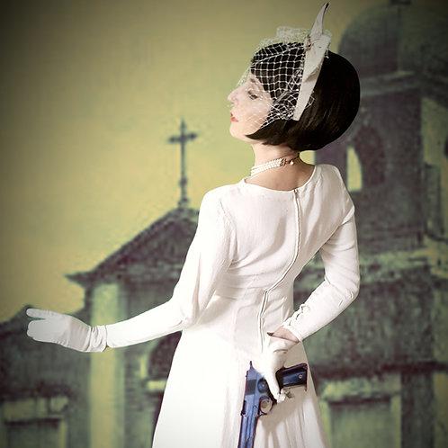 Piers Atkinson off white leather bow headban & swarvoski crystal veiling Bridal