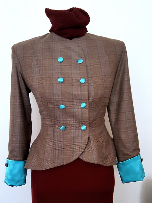Soft check tweed jacket with teal cuffs and lining
