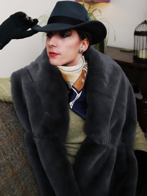 Grey faux fur stole