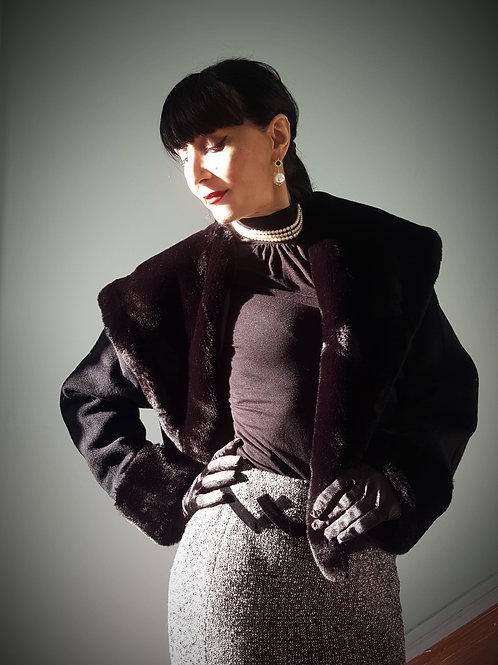 Noir C'est Noir label cashmere wool & faux fur jacket 50s inspired