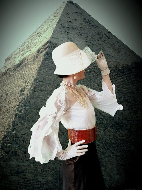 Vintage Anne Fontaine sheer silk elegant bandage flared slve top