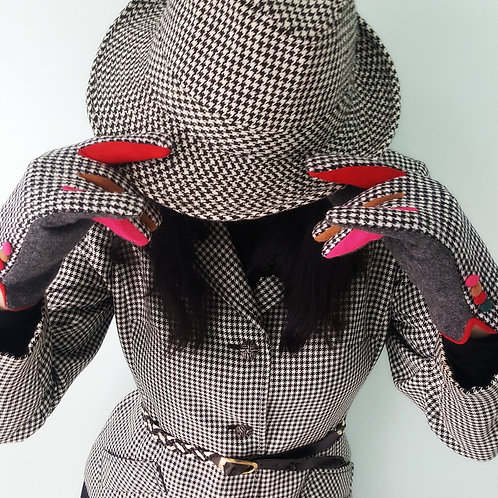 Wool Gloves in houndstooth & multicolour