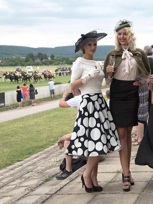 Zorica Z Design Polka dot Circle skirt navy blue and off white