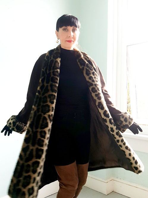 Mansfield Cashmere & wool with faux leopard fur cuffs &  edge to edge reveres